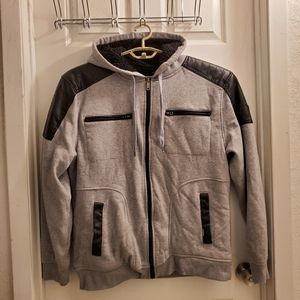 Southpole fleece-lined hoodie with faux leather